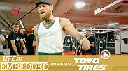 On Episode 1 of UFC 229 Embedded, lightweight champion Khabib Nurmagomedov finishes his camp, former champions Tony Ferguson and Anthony Pettis prepare in their hometowns and two-division champ Conor McGregor gathers his team for a late-night session.