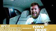 Conor McGregor arrives in style for autographs and drills at UFC headquarters. Tony Ferguson gets light therapy, as Anthony Pettis journeys to Las Vegas. Post-photo shoot, Khabib Nurmagomedov gets a first look at the custom jewelry he inspired.