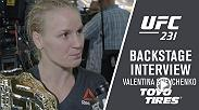 With her new belt over her shoulder, Valentina Shevchenko spoke with Megan Olivi backstage at UFC 231.