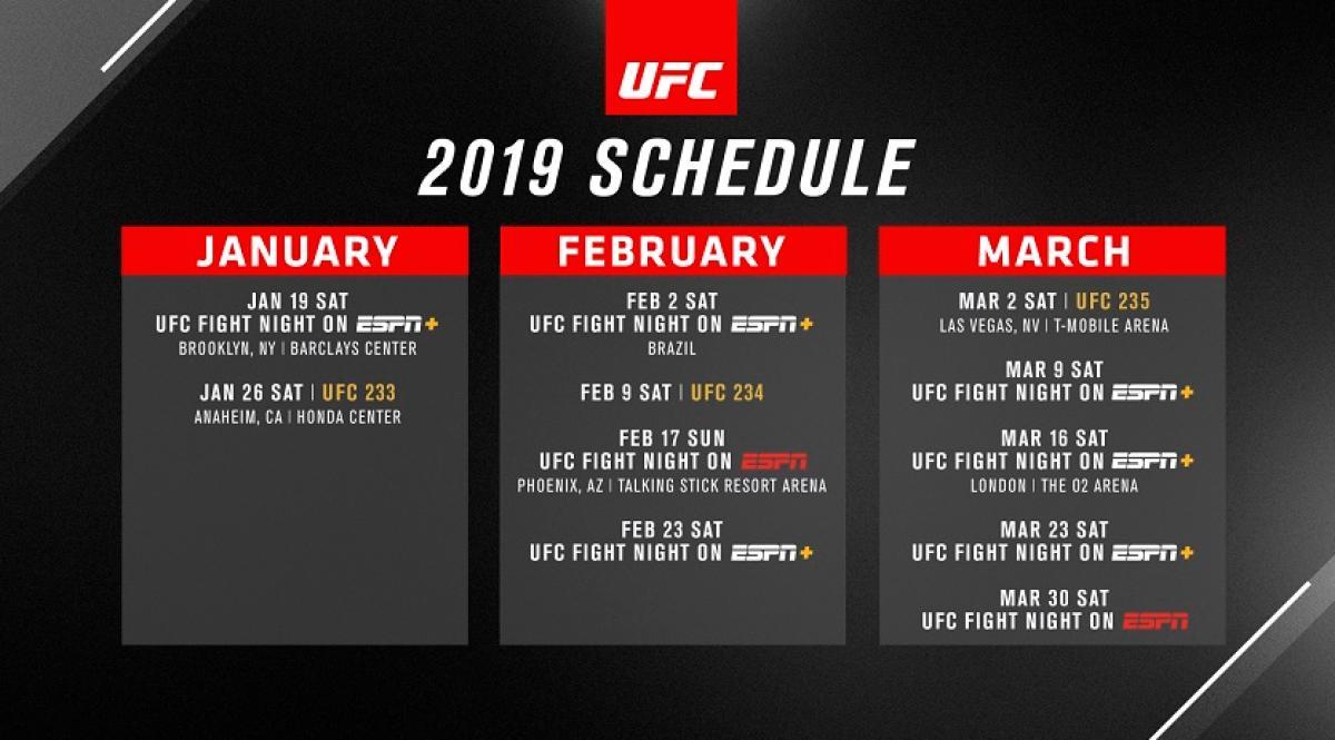 UFC Announces First Quarter Schedule for 2019 | UFC ® - News  UFC Announces F...