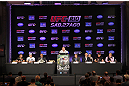 UFC 134 fighters gather for the press conference in Rio.