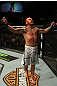 Chris Leben celebrates his win over Wanderlei Silva.