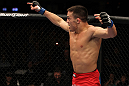 Jake Ellenberger celebrates his win.