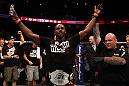 Jon Jones celebrates his win