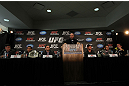 (L-R) Brian Stann, Jose Aldo, Frankie Edgar, UFC President Dana White, Gray Maynard, Kenny Florian and Chael Sonnen