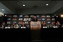 (L-R) Brian Stann, Jose Aldo, Frankie Edgar, UFC President Dana White, Gray Maynard, Kenny Florian and Chael Sonnen