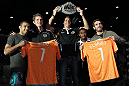 (L-R) UFC Featherweight Champion Jose Aldo, Houston Dynamo defender Bobby Boswell, Houston Dynamo midfielder Geoff Cameron, Houston Dynamo defender Corey Ashe, and UFC Featherweight title challenger Kenny Florian