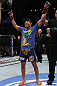 Jose Aldo celebrates his win over Kenny Florian