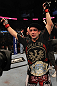 Frankie Edgar celebrates his win