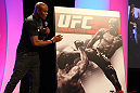 UFC Middleweight Champion Anderson Silva speaks on stage after the cover artwork for UFC Undisputed 3 is unveiled at the UFC Fan Expo