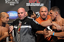 BJ Penn and Nick Diaz being separated by UFC President Dana White