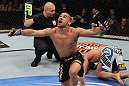 Renan Barao celebrates his win over Brad Pickett