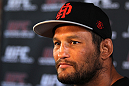 SAN JOSE, CA - NOVEMBER 16:  Dan Henderson answers questions from the media during the UFC 139 open workouts at the Heroes Martial Arts Gym on November 16, 2011 in San Jose, California.  (Photo by Josh Hedges/Zuffa LLC/Zuffa LLC via Getty Images)