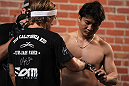 SAN JOSE, CA - NOVEMBER 16:  Urijah Faber has his hands wrapped before working out for the fans and media during the UFC 139 open workouts at the Heroes Martial Arts Gym on November 16, 2011 in San Jose, California.  (Photo by Josh Hedges/Zuffa LLC/Zuffa LLC via Getty Images)