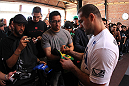 "SAN JOSE, CA - NOVEMBER 16:  Mauricio ""Shogun"" Rua greets fans after working out during the UFC 139 open workouts at the Heroes Martial Arts Gym on November 16, 2011 in San Jose, California.  (Photo by Josh Hedges/Zuffa LLC/Zuffa LLC via Getty Images)"