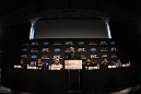 SAN FRANCISCO, CA - NOVEMBER 17:  A general view of the fighters on the dais at the UFC 139 pre-fight press conference at the Fort Mason Center on November 17, 2011 in San Francisco, California.  (Photo by Josh Hedges/Zuffa LLC/Zuffa LLC via Getty Images)