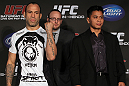 SAN FRANCISCO, CA - NOVEMBER 17:  (L-R) Middleweight opponents Wanderlei Silva and Cung Le pose for photos at the UFC 139 pre-fight press conference at the Fort Mason Center on November 17, 2011 in San Francisco, California.  (Photo by Josh Hedges/Zuffa LLC/Zuffa LLC via Getty Images)
