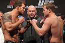 SAN JOSE, CA - NOVEMBER 18:  (L-R) Light Heavyweight opponents Ryan Bader and Jason Brilz face off after weighing in during the UFC 139 Weigh In at the HP Pavilion on November 18, 2011 in San Jose, California.  (Photo by Josh Hedges/Zuffa LLC/Zuffa LLC via Getty Images)
