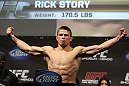 SAN JOSE, CA - NOVEMBER 18:  Rick Story weighs in during the UFC 139 Weigh In at the HP Pavilion on November 18, 2011 in San Jose, California.  (Photo by Josh Hedges/Zuffa LLC/Zuffa LLC via Getty Images)
