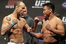 SAN JOSE, CA - NOVEMBER 18:  (L-R) Middleweight opponents Wanderlei Silva and Cung Le face off after weighing in during the UFC 139 Weigh In at the HP Pavilion on November 18, 2011 in San Jose, California.  (Photo by Josh Hedges/Zuffa LLC/Zuffa LLC via Getty Images)