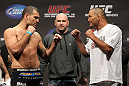 "SAN JOSE, CA - NOVEMBER 18:  (L-R) Light Heavyweight opponents Mauricio ""Shogun"" Rua and Dan Henderson face off after weighing in during the UFC 139 Weigh In at the HP Pavilion on November 18, 2011 in San Jose, California.  (Photo by Josh Hedges/Zuffa LLC/Zuffa LLC via Getty Images)"