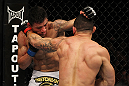 SAN JOSE, CA - NOVEMBER 19: (R-L) Gleison Tibau exchanges punches with Rafael dos Anjos during an UFC Lightweight bout at the HP Pavilion in San Jose, California on November 19, 2011 in San Jose, California. (Photo by Josh Hedges/Zuffa LLC/Zuffa LLC via Getty Images)