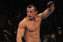 SAN JOSE, CA - NOVEMBER 19: Gleison Tibau celebrates defeating Rafael dos Anjos during an UFC Lightweight bout at the HP Pavillion in San Jose, California on November 19, 2011 in San Jose, California.  (Photo by Josh Hedges/Zuffa LLC/Zuffa LLC via Getty Images)