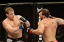 SAN JOSE, CA - NOVEMBER 19: (R-L) Ryan Bader looks to land a punch on Jason Brilz during an UFC Light Heavywieght bout at the HP Pavillion on November 19, 2011 in San Jose, California.  (Photo by Josh Hedges/Zuffa LLC/Zuffa LLC via Getty Images)