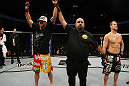 SAN JOSE, CA - NOVEMBER 19:  (L-R) Ryan Bader celebrates defeating Jason Brilz with a knock out in the first round during an UFC Light Heavywieght bout at the HP Pavillion on November 19, 2011 in San Jose, California.  (Photo by Josh Hedges/Zuffa LLC/Zuffa LLC via Getty Images)