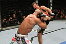 SAN JOSE, CA - NOVEMBER 19: (R-L) Stephan Bonnar has his kicked blocked by Kyle Kingsbury during an UFC Light Heavywieght bout at the HP Pavillion on November 19, 2011 in San Jose, California.  (Photo by Josh Hedges/Zuffa LLC/Zuffa LLC via Getty Images)