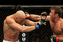 SAN JOSE, CA - NOVEMBER 19: (R-L) Stephan Bonnar punches Kyle Kingsbury during an UFC Light Heavywieght bout at the HP Pavillion on November 19, 2011 in San Jose, California.  (Photo by Josh Hedges/Zuffa LLC/Zuffa LLC via Getty Images)