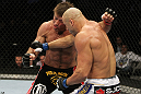 SAN JOSE, CA - NOVEMBER 19: (R-L) Kyle Kingsbury punches Stephan Bonnar during an UFC Light Heavywieght bout at the HP Pavillion on November 19, 2011 in San Jose, California.  (Photo by Josh Hedges/Zuffa LLC/Zuffa LLC via Getty Images)