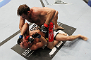 SAN JOSE, CA - NOVEMBER 19: Stephan Bonnar (top) punches Kyle Kingsbury (bottom) during an UFC Light Heavywieght bout at the HP Pavillion on November 19, 2011 in San Jose, California.  (Photo by Josh Hedges/Zuffa LLC/Zuffa LLC via Getty Images)