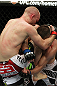 SAN JOSE, CA - NOVEMBER 19: (R-L) Martin Kampmann knees Rick Story during an UFC Welterweight bout at the HP Pavilion on November 19, 2011 in San Jose, California. (Photo by Josh Hedges/Zuffa LLC/Zuffa LLC via Getty Images)