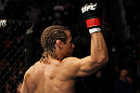 SAN JOSE, CA - NOVEMBER 19:  Urijah Faber salutes the crowd before his UFC Bantamweight bout against Brian Bowles at the HP Pavillion on November 19, 2011 in San Jose, California.  (Photo by Josh Hedges/Zuffa LLC/Zuffa LLC via Getty Images)