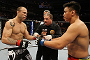 SAN JOSE, CA - NOVEMBER 19: (L-R) Wanderlei Silva and Cung Le touch gloves to start their UFC Middleweight bout at the HP Pavillion on November 19, 2011 in San Jose, California.  (Photo by Josh Hedges/Zuffa LLC/Zuffa LLC via Getty Images)