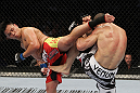 SAN JOSE, CA - NOVEMBER 19: (R-L) Wanderlei Silva and Cung Le exchange kicks during an UFC Middleweight bout at the HP Pavillion on November 19, 2011 in San Jose, California.  (Photo by Josh Hedges/Zuffa LLC/Zuffa LLC via Getty Images)