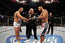 SAN JOSE, CA - NOVEMBER 19:  (R-L) Dan Henderson and Mauricio Rua touch gloves to start their UFC Light Heavyweight bout at the HP Pavillion on November 19, 2011 in San Jose, California.  (Photo by Josh Hedges/Zuffa LLC/Zuffa LLC via Getty Images)