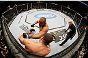 SAN JOSE, CA - NOVEMBER 19:  Dan Henderson (top) punches Mauricio Rua (bottom) during an UFC Light Heavyweight bout at the HP Pavillion on November 19, 2011 in San Jose, California.  (Photo by Josh Hedges/Zuffa LLC/Zuffa LLC via Getty Images)