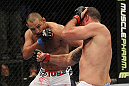 SAN JOSE, CA - NOVEMBER 19: (R-L) Mauricio Rua and Dan Henderson exchange punches during an UFC Light Heavyweight bout at the HP Pavillion on November 19, 2011 in San Jose, California.  (Photo by Josh Hedges/Zuffa LLC/Zuffa LLC via Getty Images)