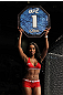 SAN JOSE, CA - NOVEMBER 19: UFC Octagon Girl Chandella Powell introduces round one at the HP Pavilion in San Jose, California on November 19, 2011 in San Jose, California. (Photo by Josh Hedges/Zuffa LLC/Zuffa LLC via Getty Images)