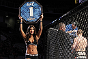 SAN JOSE, CA - NOVEMBER 19: UFC Octagon Girl Arianny Celeste introduces round one during the Ryan Bader/Jason Brilz UFC Light Heavywieght bout at the HP Pavillion on November 19, 2011 in San Jose, California.  (Photo by Josh Hedges/Zuffa LLC/Zuffa LLC via Getty Images)