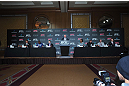 (L-R) Yoshihiro Akiyama, Rampage Jackson, Frankie Edgar, UFC CEO Lorenzo Fertitta, Benson Henderson, Ryan Bader, Jake Shields & Yushin Okami