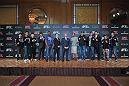 (L-R) Takeya Mizugaki, Riki Fukuda, Takanori Gomi, Yoshihiro Akiyama, Rampage Jackson, Frankie Edgar, UFC CEO Lorenzo Fertitta, Benson Henderson, Ryan Bader, Jake Shields, Yushin Okami, Norifumi