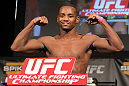 LAS VEGAS, NV - DECEMBER 02:  Yves Edwards weighs in at the official weigh-in for The Ultimate Fighter 14 Finale at The Palms Casino Resort on December 2, 2011 in Las Vegas, Nevada.  (Photo by Josh Hedges/Zuffa LLC/Zuffa LLC via Getty Images)