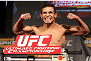 LAS VEGAS, NV - DECEMBER 02:  Dennis Bermudez weighs in at the official weigh-in for The Ultimate Fighter 14 Finale at The Palms Casino Resort on December 2, 2011 in Las Vegas, Nevada.  (Photo by Josh Hedges/Zuffa LLC/Zuffa LLC via Getty Images)