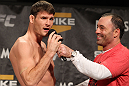 LAS VEGAS, NV - DECEMBER 02:  (L-R) Michael BIsping is interviewed by Joe Rogan after weighing in at the official weigh-in for The Ultimate Fighter 14 Finale at The Palms Casino Resort on December 2, 2011 in Las Vegas, Nevada.  (Photo by Josh Hedges/Zuffa LLC/Zuffa LLC via Getty Images)