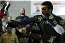 TORONTO, ON - DECEMBER 07:  Lyoto Machida works out for the fans and media during the2 UFC 140 Open Workouts at the Xtreme Couture Gym on December 7, 2011 in Toronto, Ontario.  (Photo by Josh Hedges/Zuffa LLC/Zuffa LLC via Getty Images)