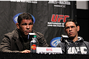 "TORONTO, ON - DECEMBER 08:  (L-R) Twin brothers Antonio Rodrigo ""Minotauro"" Nogueira and Antonio Rogerio ""Minotoro"" Nogueira attend the final UFC 140 pre-fight press conference at Bell Tiff Lightbox Cinema1 on December 8, 2011 in Toronto, Canada.  (Photo by Josh Hedges/Zuffa LLC/Zuffa LLC via Getty Images)"