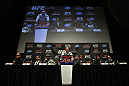 TORONTO, ON - DECEMBER 08:  A general view of the dais at the final UFC 140 pre-fight press conference at Bell Tiff Lightbox Cinema1 on December 8, 2011 in Toronto, Canada.  (Photo by Josh Hedges/Zuffa LLC/Zuffa LLC via Getty Images)